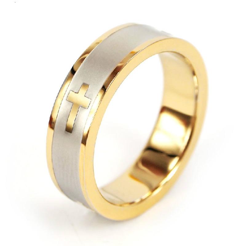 简约镀金十字架戒指 环保不锈钢指环