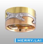 316L 不锈钢真空电镀三元色施华洛水钻戒指