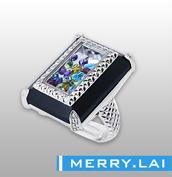 316L 不锈钢高抛光间电黑色方盒戒指装配彩色进口水钻