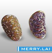 316L不锈钢戒指,彩色水钻配进口泥胶戒指