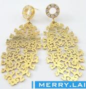 镀金镶锆石女式耳环