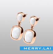 真空电镀耳钉 镶嵌锆石 不锈钢耳环
