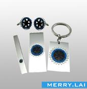 不锈钢钱夹、领带夹、袖扣、钥匙扣套装