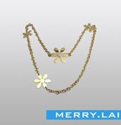 花形玫简约自然项链 镀金不锈钢项链