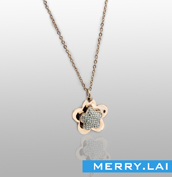 电镀金色项链 镶钻水钻 不锈钢吊饰