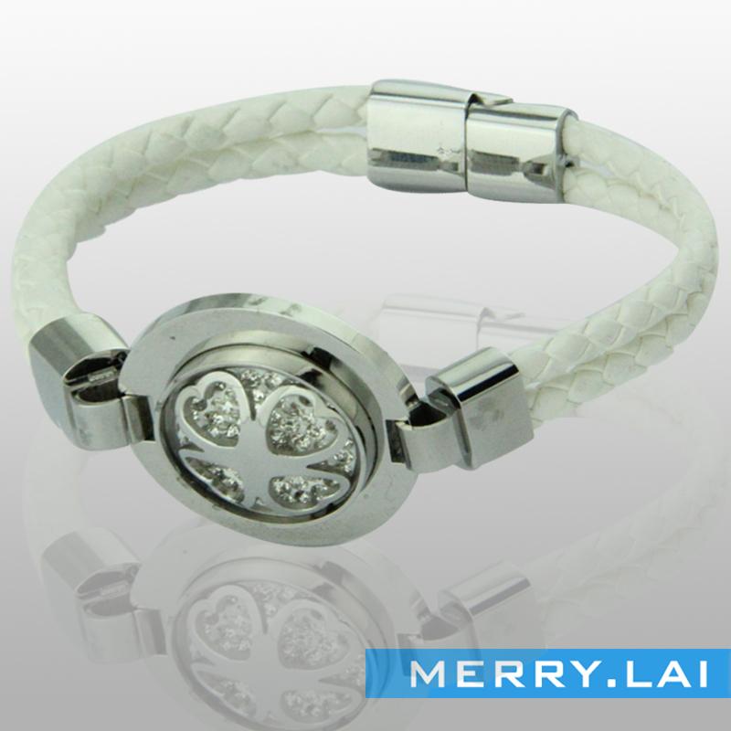 韩版时尚编织皮镶钻磁铁扣手镯手链,来图来样定做