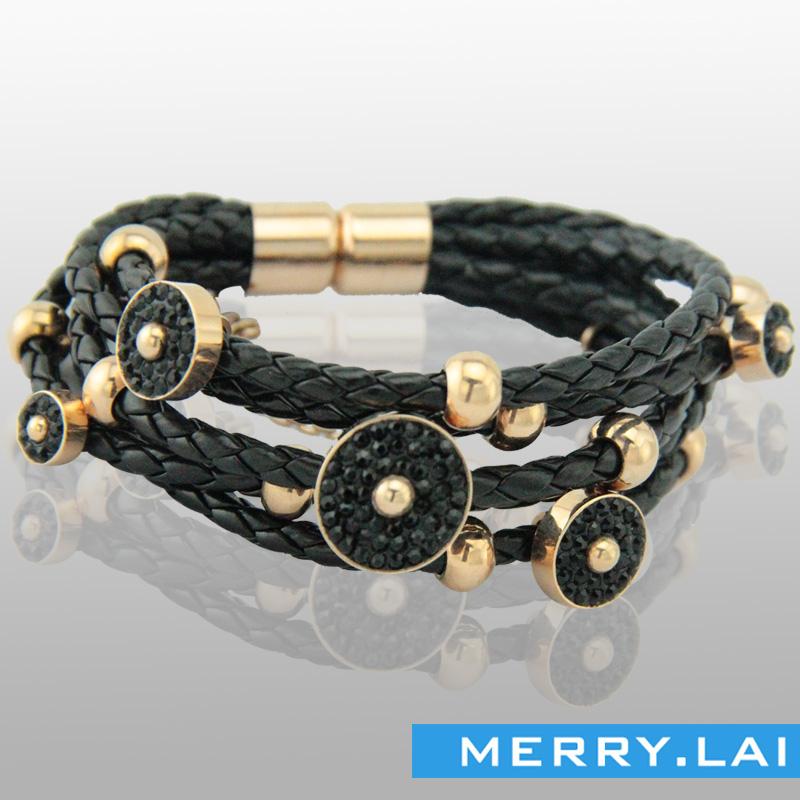 玫瑰金珠配饰,磁铁扣皮手镯手链