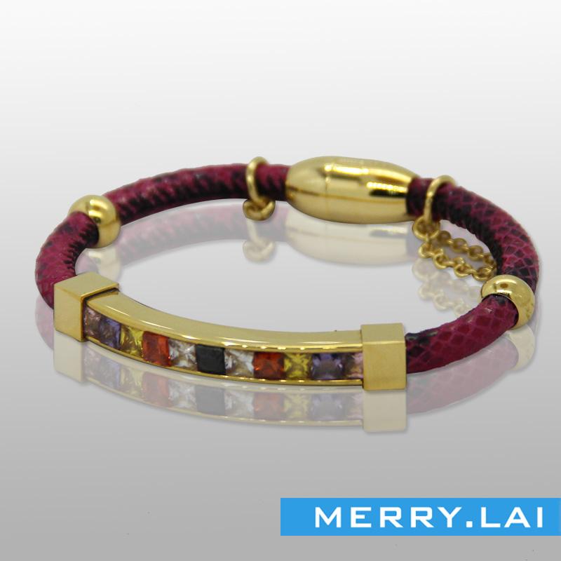 时尚七彩石手镯,金色电镀手环