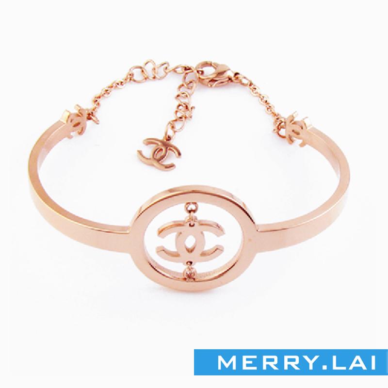镀金时尚手镯,不锈钢手环,来图来样定做