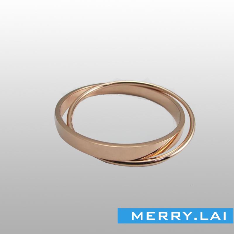 玫瑰双环手镯,时尚个性手环,不锈钢饰品厂