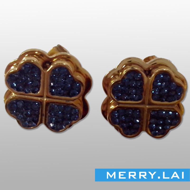 韩版时尚四叶草耳钉,环保不锈钢耳环订制