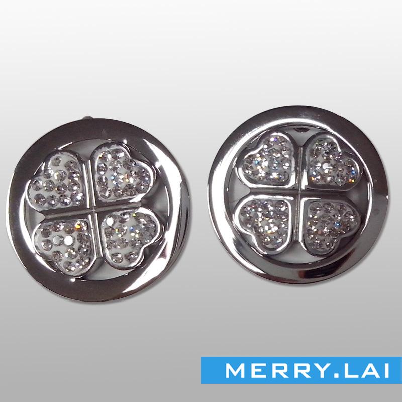四叶草镶钻耳环,不锈钢时尚耳钉,不锈钢饰品厂家