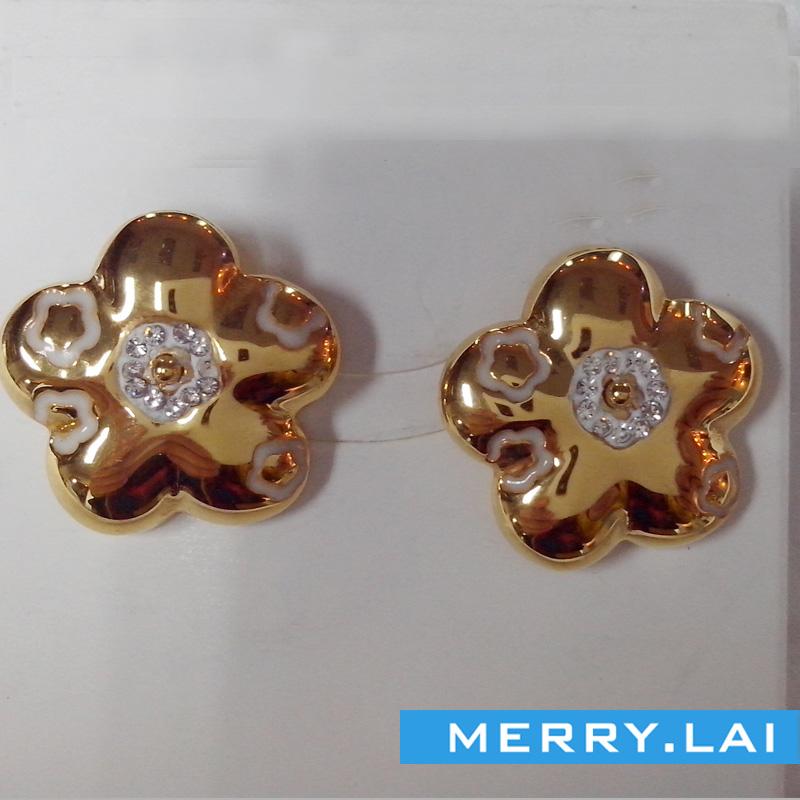 不锈钢耳环定制,花型时尚耳钉,不锈钢饰品定制