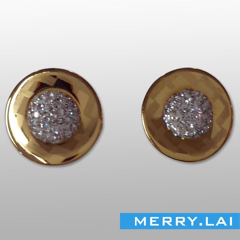 满钻花蕊耳环,圆形花式耳环,不锈钢耳钉