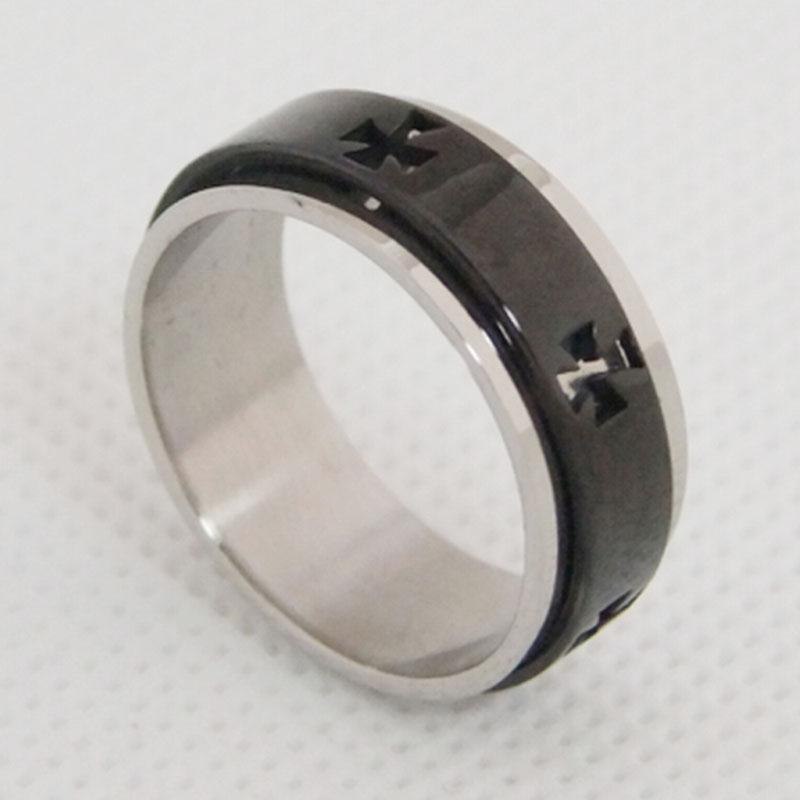 双层旋转戒指 简约十字架指环 不锈钢戒指定制