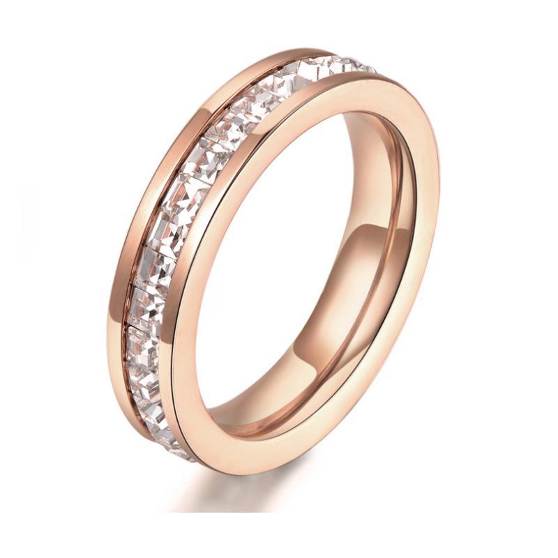 玫瑰单排镶钻戒指 玫瑰金不锈钢指环